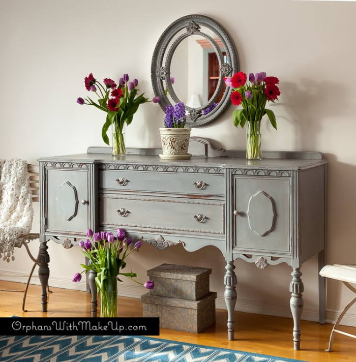 http://orphanswithmakeup.com/journal/2014/4/5/paris-grey-antique-sideboard
