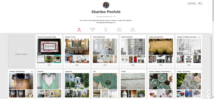 Sharilee Penfold Pinterest Boards Screenshot