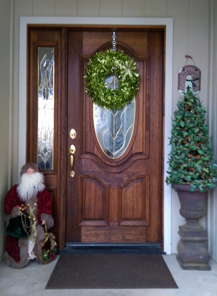Christmas front porch santa foil wreath