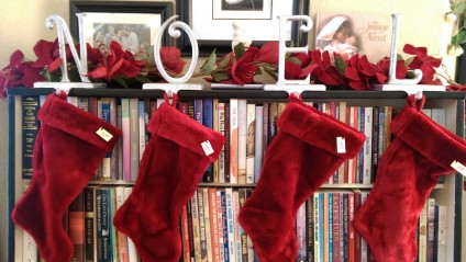 NOEL Christmas Stockings bookcase