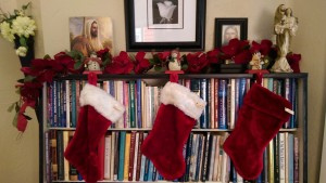 Christmas Stockings bookcase