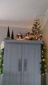 Cabinet top christmas decor snowman