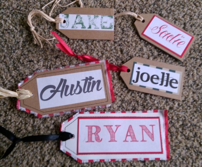 Gift tags made from recycled carton cardboard