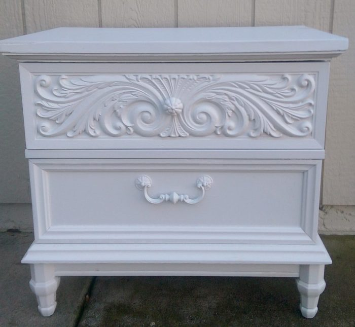 White chalk painted Craigslist nightstand