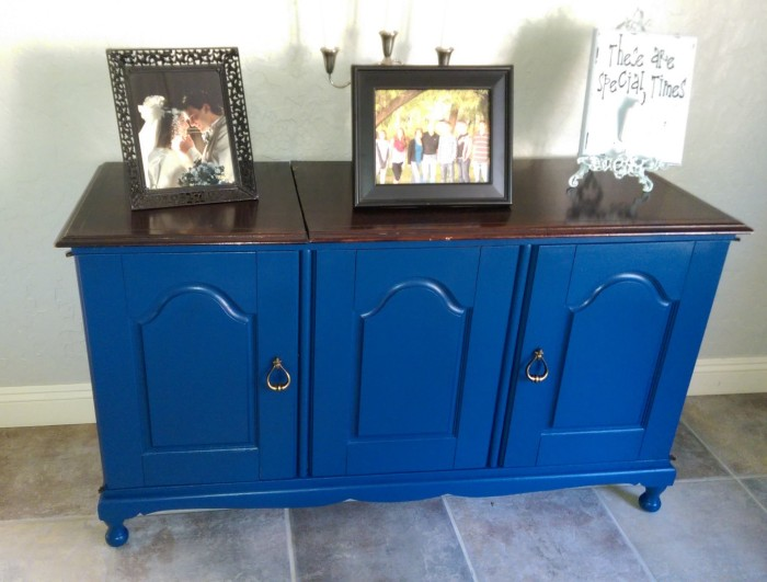 Peacock Blue painted cabinet