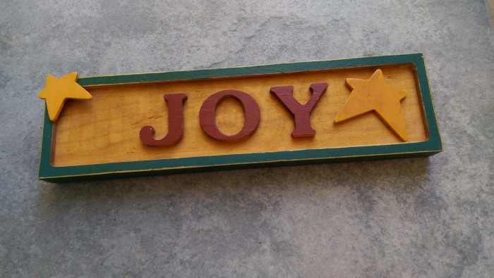 Green red wood JOY sign